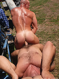 Luke Garrett, Carlo Masi and Gage Weston - muscle hunks in a gay thresome scene