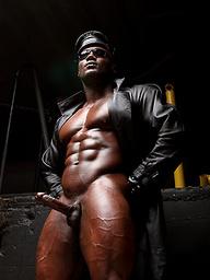 Bald ebony pro bodybuilder Leon Jacksons