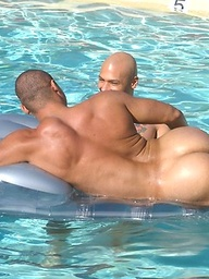 Hot muscle studs Alex Fuerte, Fredrick Ford and Ricky Martinez have fun in a pool