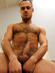 Sam Bishop shows his hairy muscle body