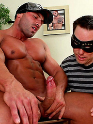 Max play. Muscled max gets a blowjob.