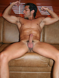 Latin muscle man David jacking off dick