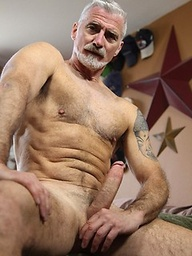Silver daddy Paul Barbaro plays with his big dick