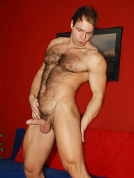 Rugged beefy man Peter Jonson jerking off dick
