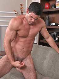 Hot athlete Theo strokes dick