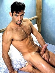 Muscular attractive hunk with a hot furry chest and nice cock.