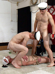 Sex starved sailors Nick and Derek fucks slutty sub martin
