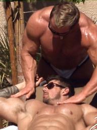 Poolside Delight. Zeb fucks his muscled buddy Skye Woods