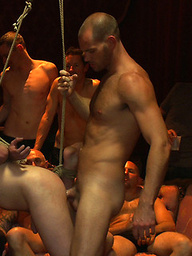 Big cock slave is publicly humiliated and caught in the cum fest.