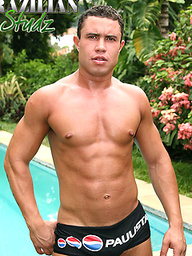 Rodrigo Jacques posing naked by the pool