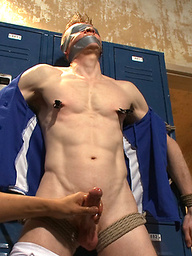 Straight jock gets tied up against his will and edged until he begs for mercy.