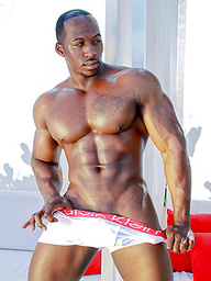 Hot ebony athlete Justin naked outdoors