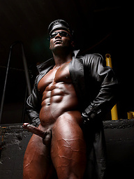 Bald ebony pro bodybuilder Leon Jacksons
