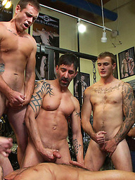 Jessie Colter gets gang banged at Mr S Leather store.