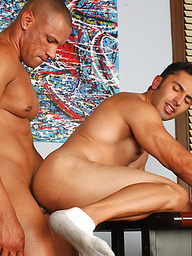 Gianni Luca and Jay Cruz fuck on the boss's desk until they pump their hot loads.