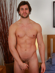 Muscular Straight Rugby Stud Cory Shows off his Hard Muscles & his Very Erect Uncut Cock!