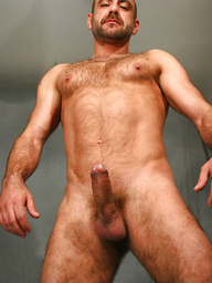 Hairy mature man Manu Maltes shows his uncut cock