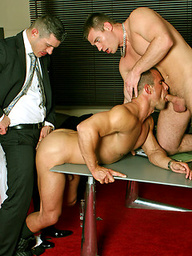 Businessmen take their clothes off for a sexy hunk threesome