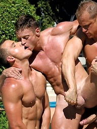 Three hot muscle hunks fucking outdoors