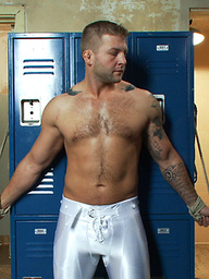Straight rugby player gets tied up and edged in the locker room shower.