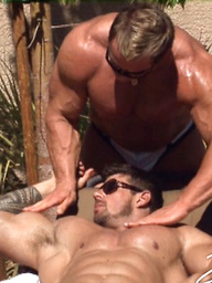 Poolside Delight. Zeb fucks his muscled buddy Skye Woods