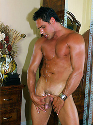 Brand new tight denim jeans aren't enough to hold Marcello's huge cock back