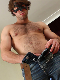 Hairy muscle stud Bradley strokes his dick