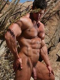 Muscular men Zeb posing outdoors