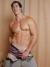Muscled hunk Tim shows his perfect body and cock