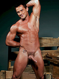 Hot muscle man posing naked and shows his cock