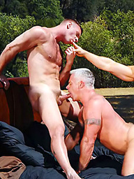 Luke Garrett, Ricky Parks and Sky Thompson in muscle threesome party sex scene