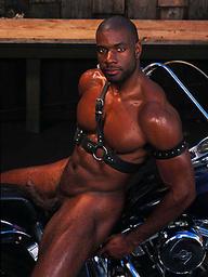 Muscled biker Adam Dexter
