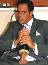 Feeling horny in his brand new fitted suit, Marcello tries out a fleshlight