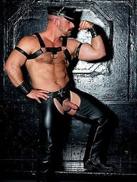 Muscled man in leather posing